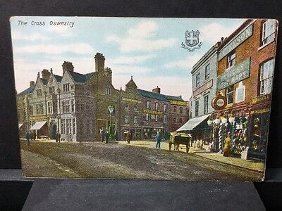 Shropshire Oswestry The Cros And Shops Vintage Postcard. Ref 17/3272