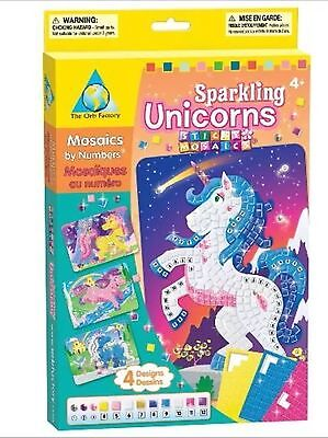 Sticky Mosaics Sparkling Unicorns Childrens Colour Numbers Picture Craft Kit/Set