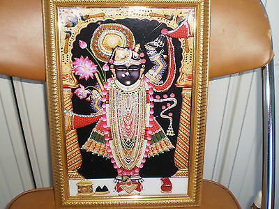 Framed Picture of Hindu Deity Shrinathji, Hinduism - Made in India
