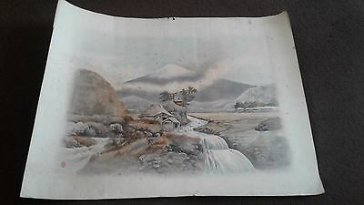 antique Japanese water colour painting with seal