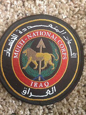 Iraq Multi-National Corps Patch with arabic outside lettering