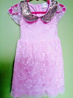 New!!  Gorgeous pink lace toddler girls dress with gold sequins, size 2T