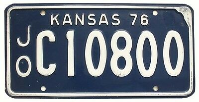 Vintage Blue Kansas 1972 Johnson County License Plate for Muscle Car, Man Cave