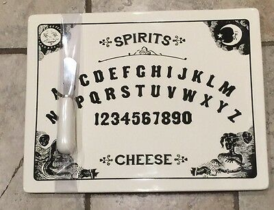 Magenta Ouija Board Cheese Platter Plate With Knife Ceramic Halloween