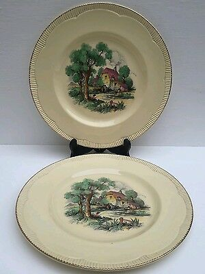 Clarice Cliff Newport Pottery England X 2 Dinner Plates Diameter 10.5""