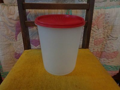 Vintage Tupperware Clear Single Canister 809-6 with  Red Lid
