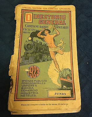 Antique Guide Of Mexico Railroad & Ship Steamboat 1923