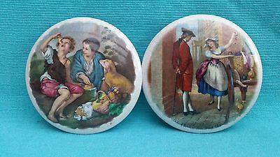 2 Prattware lids Cries of London Fine Black Cherries and Children with dog