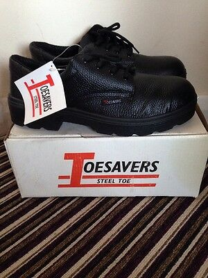 Brand New Men's Steel Toe Safety Shoes Black lace up Size 9