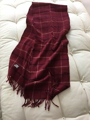Burberry Large Square Maroon Check Merino Wool Scarf Made In Spain