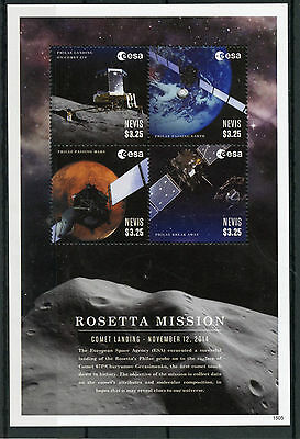 Nevis 2015 MNH Rosetta Mission Comet Landing 4v M/S Space Philae 67P Stamps