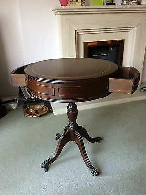 Mahogany Regency Style Drum Table, Reproduction Wooden Circular Table