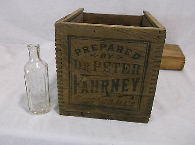 antique wood Prepared by Dr. Peter Fahrney box crate medical glass bottle
