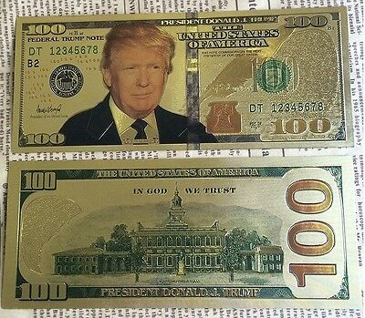 President Donald Trump 24k USA Gold Plated $100 Dollar Bill / Banknote Feather