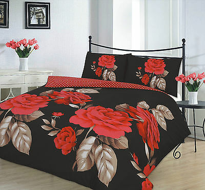 Modern Duvet Cover & Pillow Case Bedding Set ISABELLA BLACK RED -Size DOUBLE