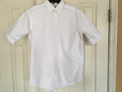 LANDS END Kids White Button Down Oxford Short Sleeve Shirt Sz 16 School Uniform