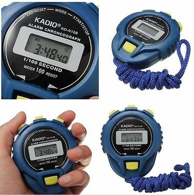 Water Resist Electronic Digital Chronograph Time Stop Watch Sport Odometer -Blue