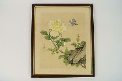 Vintage Oriental Hand Panting on Silk of Flower with Butterfly, Signed & Framed.