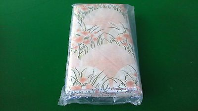 vintage retro fabric single bed flat sheet set cotton bright apricot floral NEW