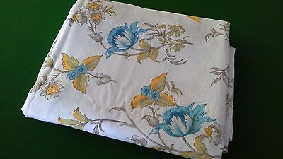 vintage retro fabric double bed flat sheet cotton blue gold floral pattern