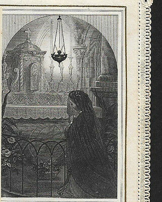 GOODBYE MY LORD, until TOMORROW Lady Altar. Beautiful old Print HOLY CARD Lace