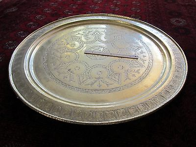 """Gorgeous Antique Persian Islamic Engraved Copper Tray 38""""/ 97cm/ 14lbs"""