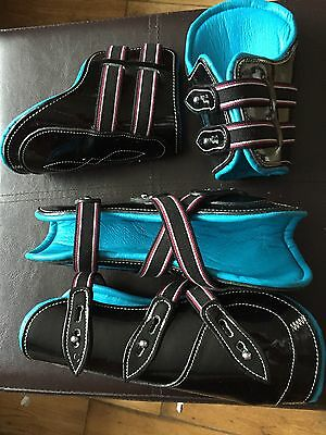 Black patent With Blue Cow Softy Leather Lining Tendon & Fetlock boots (Pony)