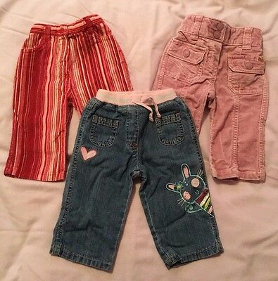 3 Pairs Baby Girls Jeans  Age 3-6 Months  Ex Cond
