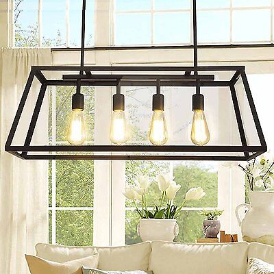 4 Heads Contemporary Industrial Ceiling Pendant Cage Metal Light Lamp Fixtures