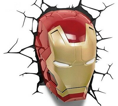 Marvel Iron Man Mask 3D Light Break Through The Wall Childrens Bedroom -Free P&p