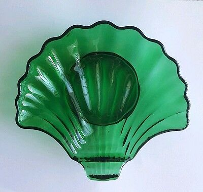 Anchor Hocking Forest Green Seashell Nut Candy Trinket Shell Soap Dish Bowl