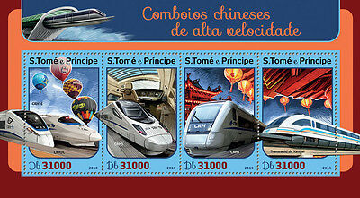 Sao Tome & Principe 2016 MNH Chinese Speed Trains 4v M/S Railways Stamps