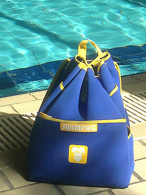 Swimpac Childs / Kids Swimming Backpack Bag Blue & Yellow with Pictorial Icons