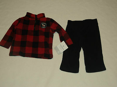 Carter's Clothing Size 6 Months Boys 2 Pc Outfit Red Shirt & Black Pants  Nwt