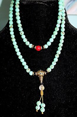 Turquoise Coral Handmade Tibetan Worry Myra Necklace Buddha Prayer Beads