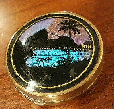 Vintage Morpho Butterfly Wings Powder Compact Rio Brazil