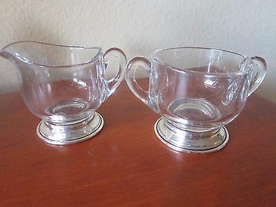 antique petite sterling silver and glass cream and sugar