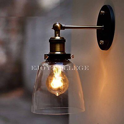 2x Vintage Industrial Dimmable Ceiling Glass Bell Wall Sconce Light Lamp Bedroom