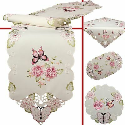 Pink Butterfly Rose Flower Embroidery Table runner Table overlay Doily Cream
