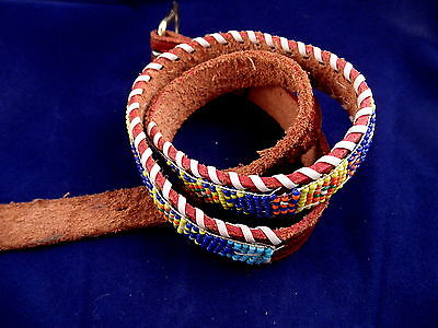 "Native American Indian Hand Beaded 28"" Stamped Leather Belt"