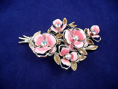 "3"" Enamel and Opal Rhinestone Floral Brooch Signed CORO"