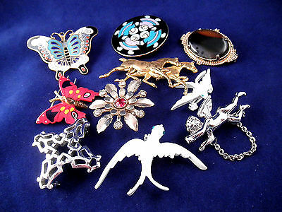 Lovely Vintage Brooch Lot - Figural Horse Bird Angel - Enamel and Agate Stone