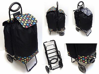 New Unique Duo Twin Shopping Trolley Lightweight Design Strong Secure Big Wheels