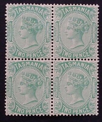 1878- Tasmania Australia Block of 4 x 2 d Pale Green Sideface Stamps Mint