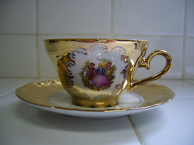Vintage Stw Bavaria Germany Gold And White Demitasse Cup And Saucer