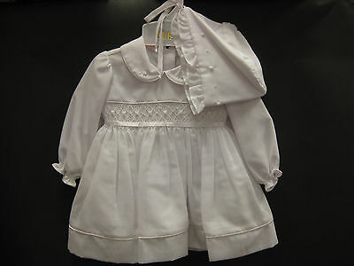 NWT Will'beth Smocked White Christening Baptism Girl Dress Bonnet 6M Dedication