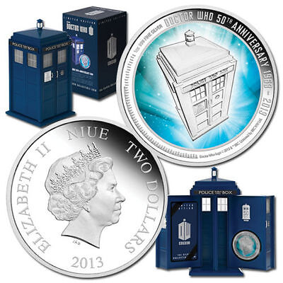 Doctor Who 50th Anniversary 2013 1oz Silver Proof Coin unopened NEW CONDITION
