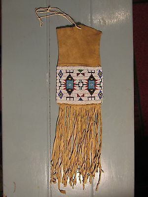 Plains Native American Indian tobacco pipe bag brain tanned sinew sewn PERFECT