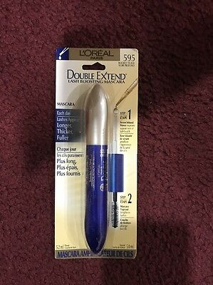 L'OREAL DOUBLE EXTEND LASH BOOSTING WITH MASCARA # 595 BLACKEST BLACK  Sealed