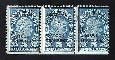 Scott # RD58, used strip 3, VG, $5 Stock Transfer, 1940, cut canceled + h-stamp